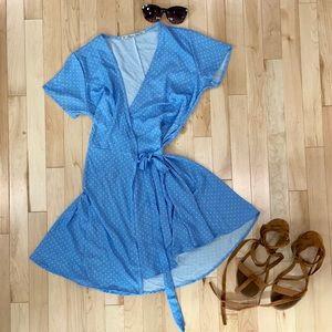 Baby blue polka dot wrap mini dress